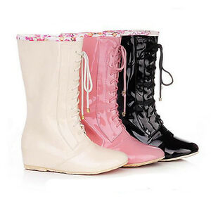Girls women's rain boots Lace up wellies Ladies Boots Patent ...