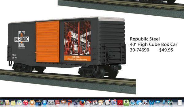 2012 MTH 30-74690 Republic Steel 40' High Cube Box Car new in the box