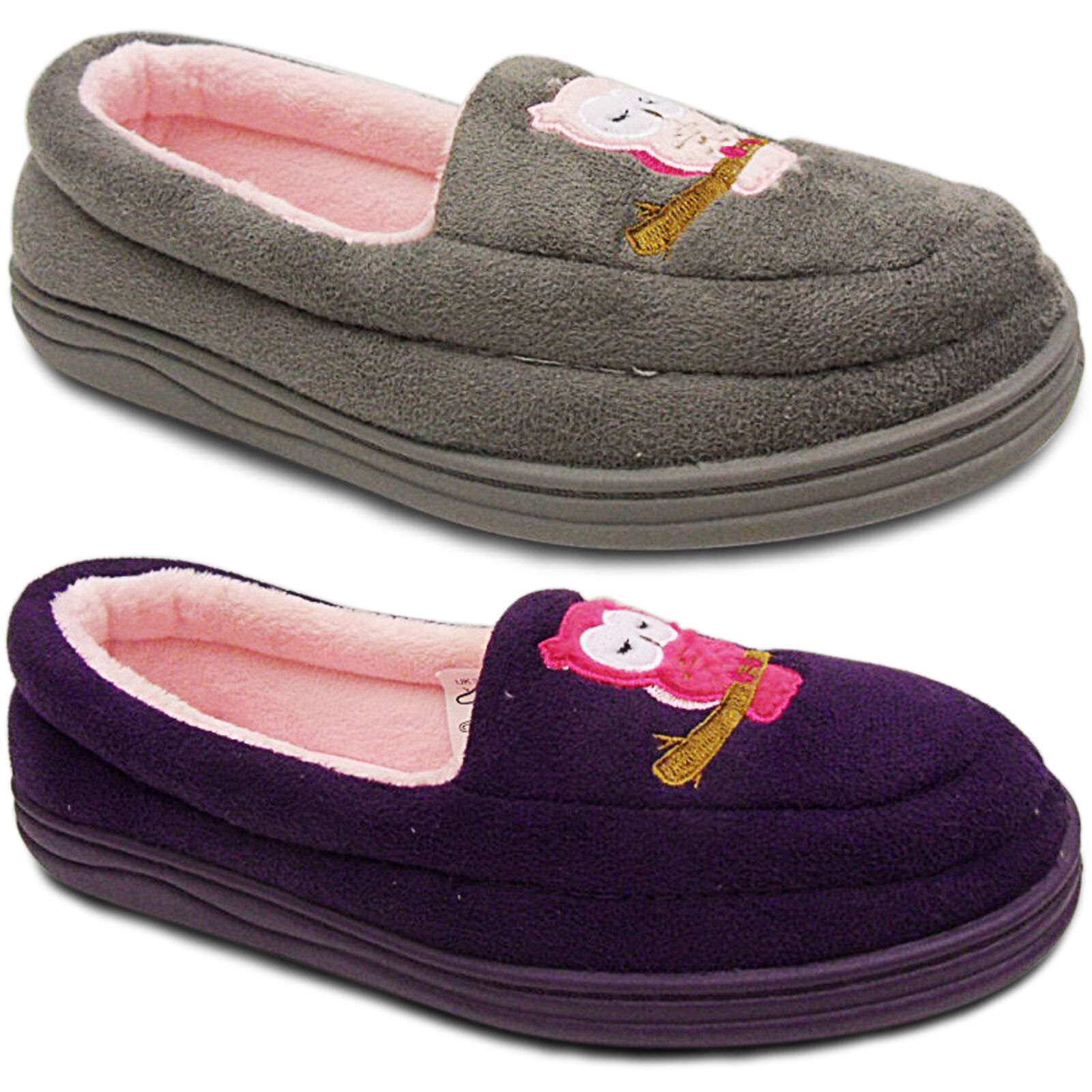 NEW COMFORT  LADIES MOCCASIN OWL COMFORT NEW CUSHIONED LOW WEDGE HEEL SLIPPERS SHOES SIZE c7f166