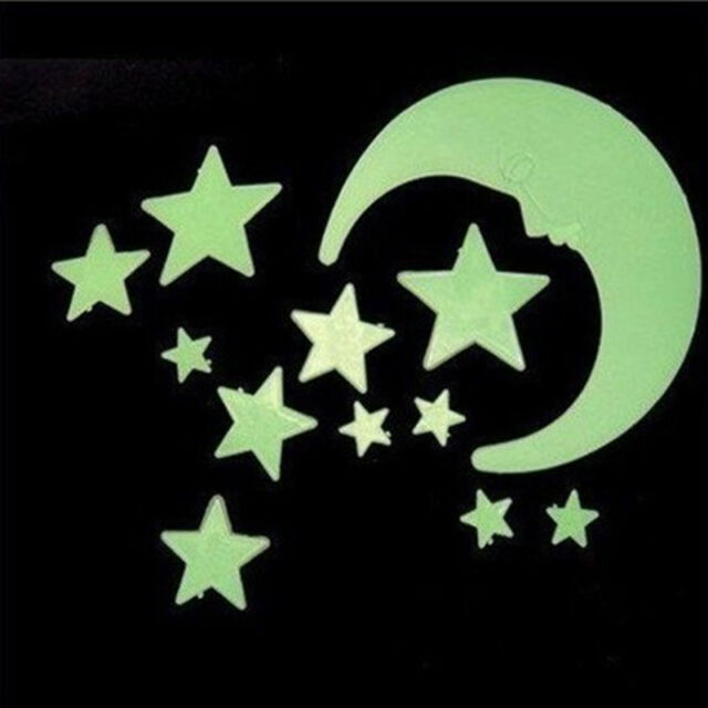 Durable Moon Star Noctilucent Glow In The Dark Wall Sticker Kid Decal  JR