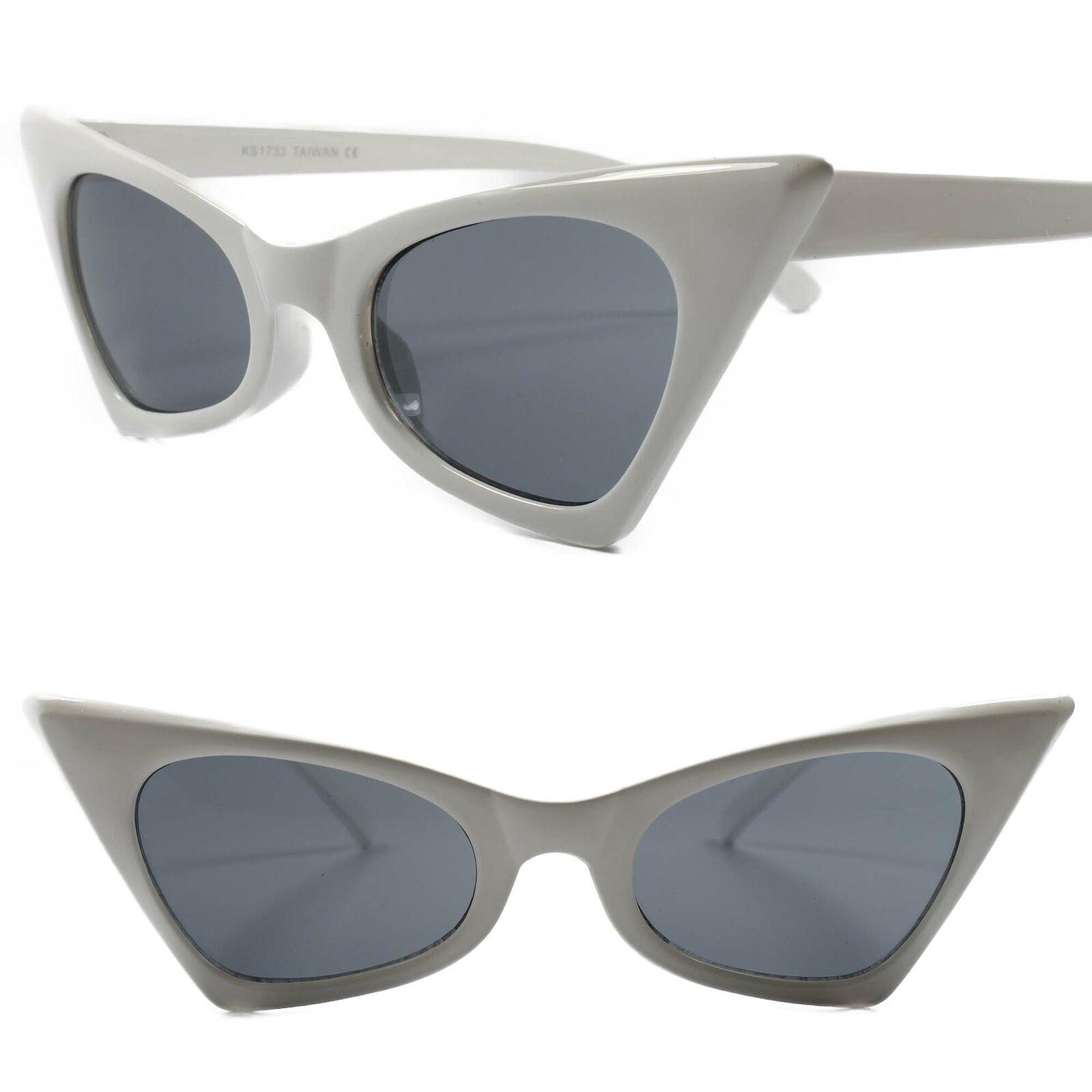 Classic Vintage Retro 90s Look Chic Sexy Foxy Womens White Cat Eye Sunglasses