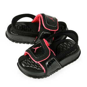 huge discount a8037 d4bee Details about Jordan Hydro 2 Toddlers 487574-009 Black Pink Logo Slide  Sandals Baby Size 10