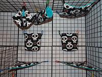 Sugar Glider 7 Piece Cage Set Skull Heads Pouches Hammocks Tunnel & More