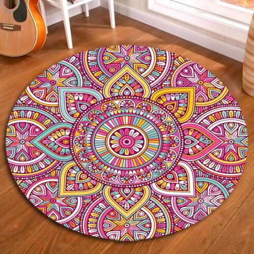 Mandala Pattern Non-slip Yoga Mat Room Floor Round Soft Carpet Decor Area Rugs