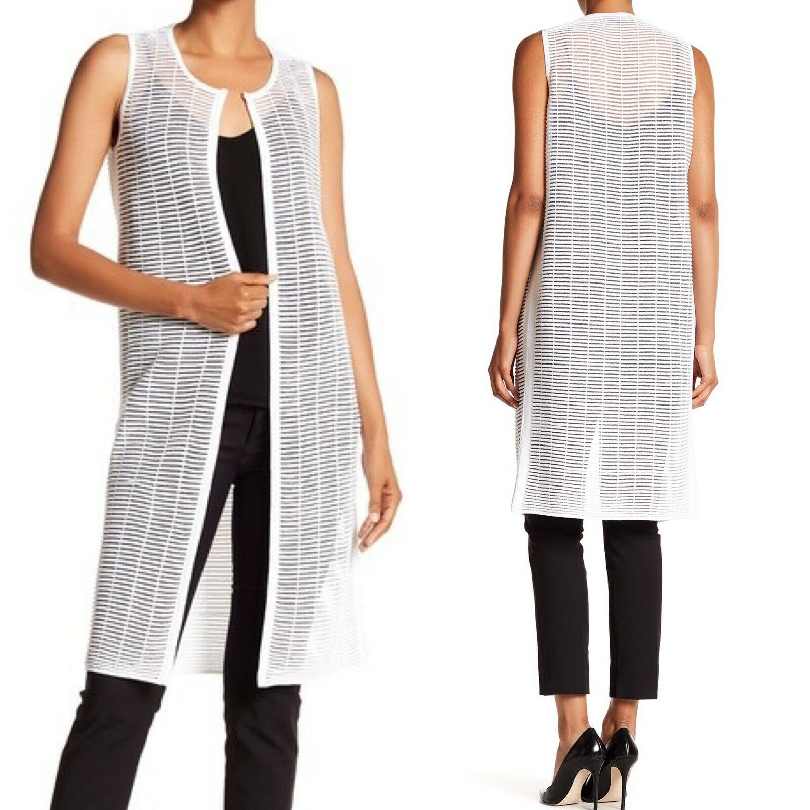 Lafayette 148 New York Women's White Long Shadow Striped Vest Size P