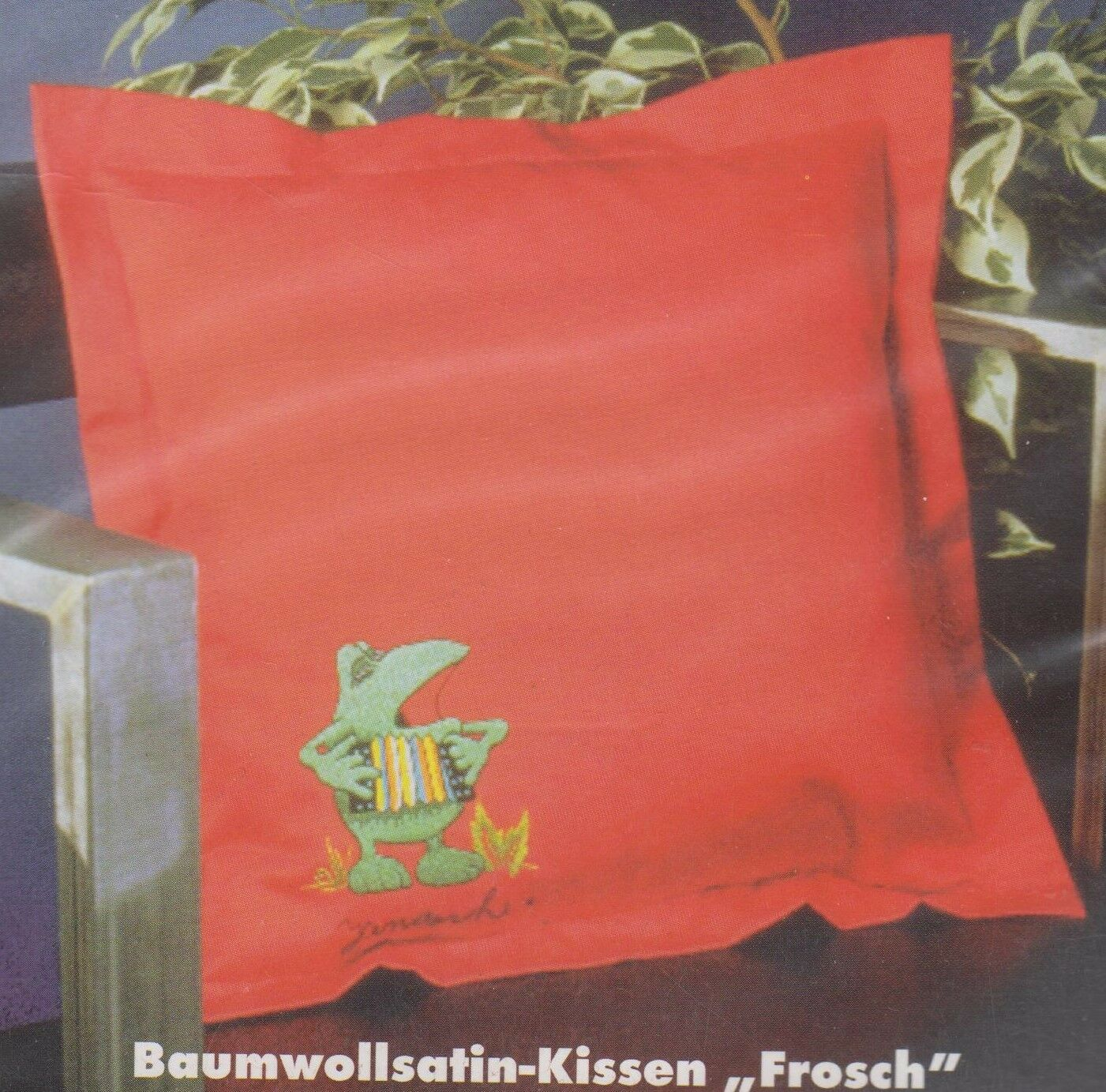 Stickpackung ROTKEHLCHEN Stielstich Plattstich vergezeichnet Kissenbezug 40x40