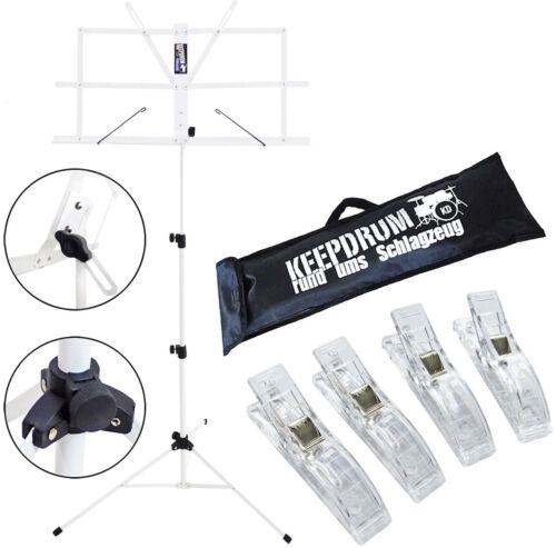 keepdrum MUS2WH Notenstaender Weiss 4 Notenklammer