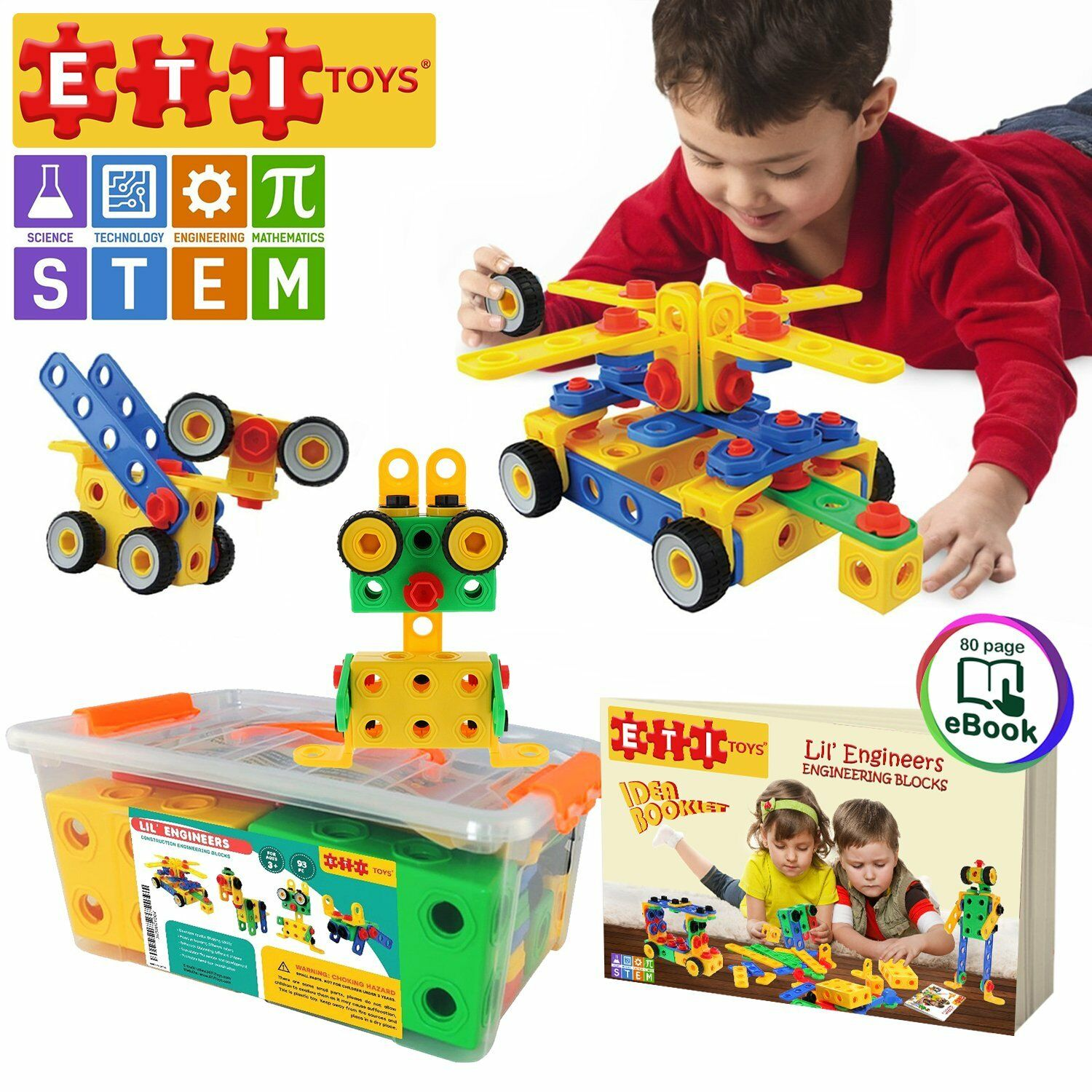 ETI Toys   STEM Learning   Original 101 Piece Educational Construction