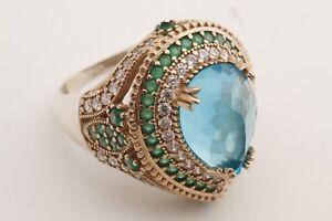 Turkish-Jewelry-Drop-London-Blue-Emerald-Topaz-925-Sterling-Silver-Ring-Size-9-5