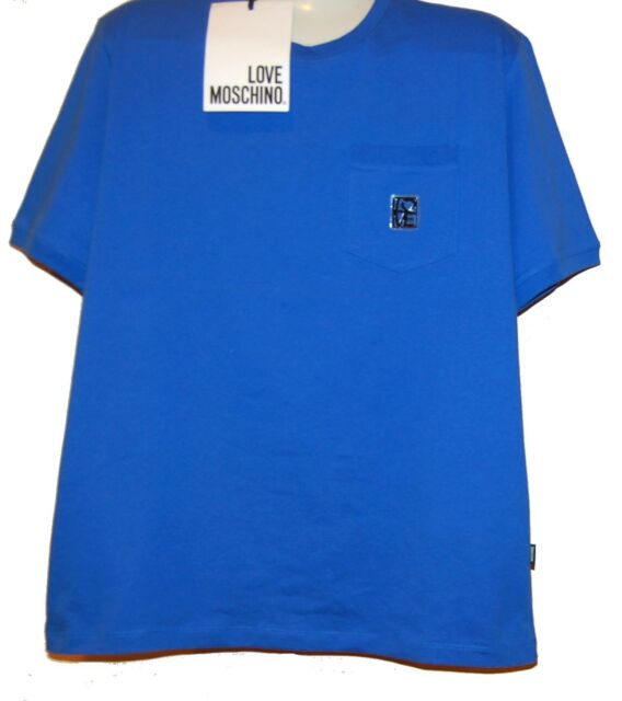 Love Moschino Blue Logo Design Cotton Men's T-Shirt  Size 2XL NEW
