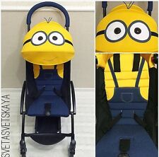 Babyzen yoyo summer kit 6+ Minion canopy seat pad and handle cover.Custom made & Pink BABYZEN 2015 Baby Zen Yoyo Stroller - Plus Grey Canopy and ...