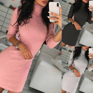Women-Turtleneck-Sweater-Bodycon-Mini-Dress-Ladies-Knitted-Long-Jumper-Tops-UK