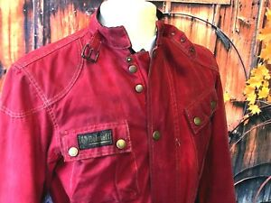 RED-BELSTAFF-1948-TRIALMASTER-WAXED-COTTON-MOTORCYCLE-JACKET-42-CH-UK