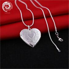Wholesale 18k Silver Heart Necklace Locket Photo Pendant Wedding Jewelry Gifts