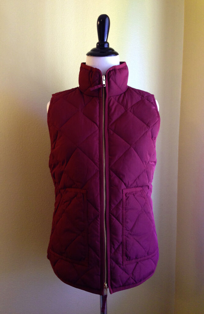 J.CREW NEW Excursion Vest Currant Maroon Quilted Down Puffer NWT XXL