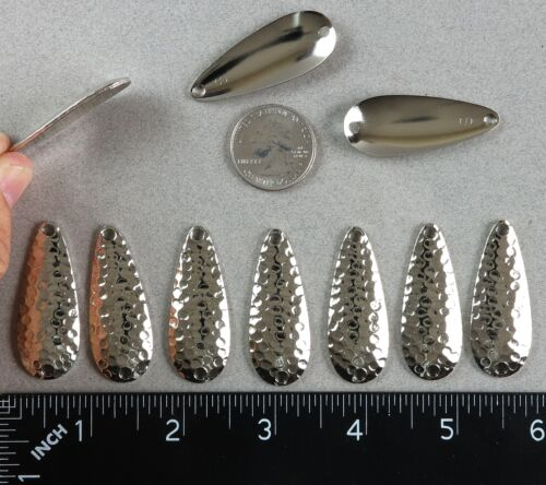 """TEN 1¾/"""" Casting Spoon Blanks Hammered Nickel Plated Steel .18 Ounce 1.75/"""" Long"""