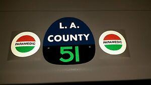 "LA COUNTY FIRE 51 /""EMERGENCY 51/"" FIRE HELMET PARAMEDIC Decals"