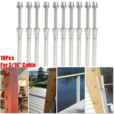 """10pc Stainless Steel Cable Railing End Fitting-Long Stud End Fitting 3//16/"""" Cable"""