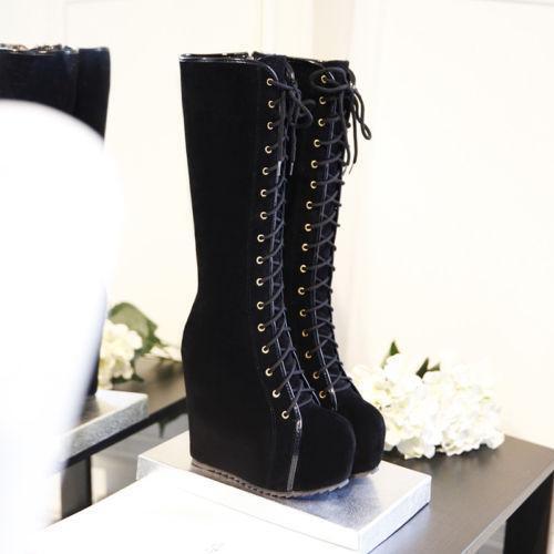 TRENDY Femmes Daim Synthétique Bottes Hautes Compensées Talons Hauts Lacets Chaussure