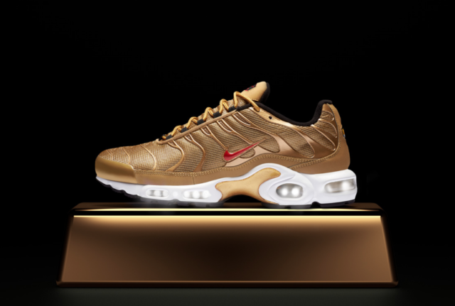1b871f0ac910 Nike Wmns Air Max Plus QS Running Womens Shoes Gold Bullet Red 887092-700 Sz