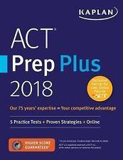 ACT PREP PLUS 2018 - KAPLAN TEST PREP (COR) - NEW PAPERBACK BOOK