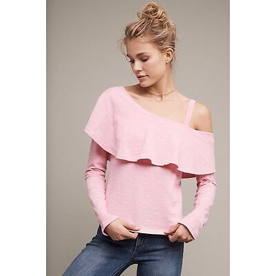 NWT Sz XL Anthropologie Asymmetrical Ruffle Top Pink Blouse By Postmark Size 16