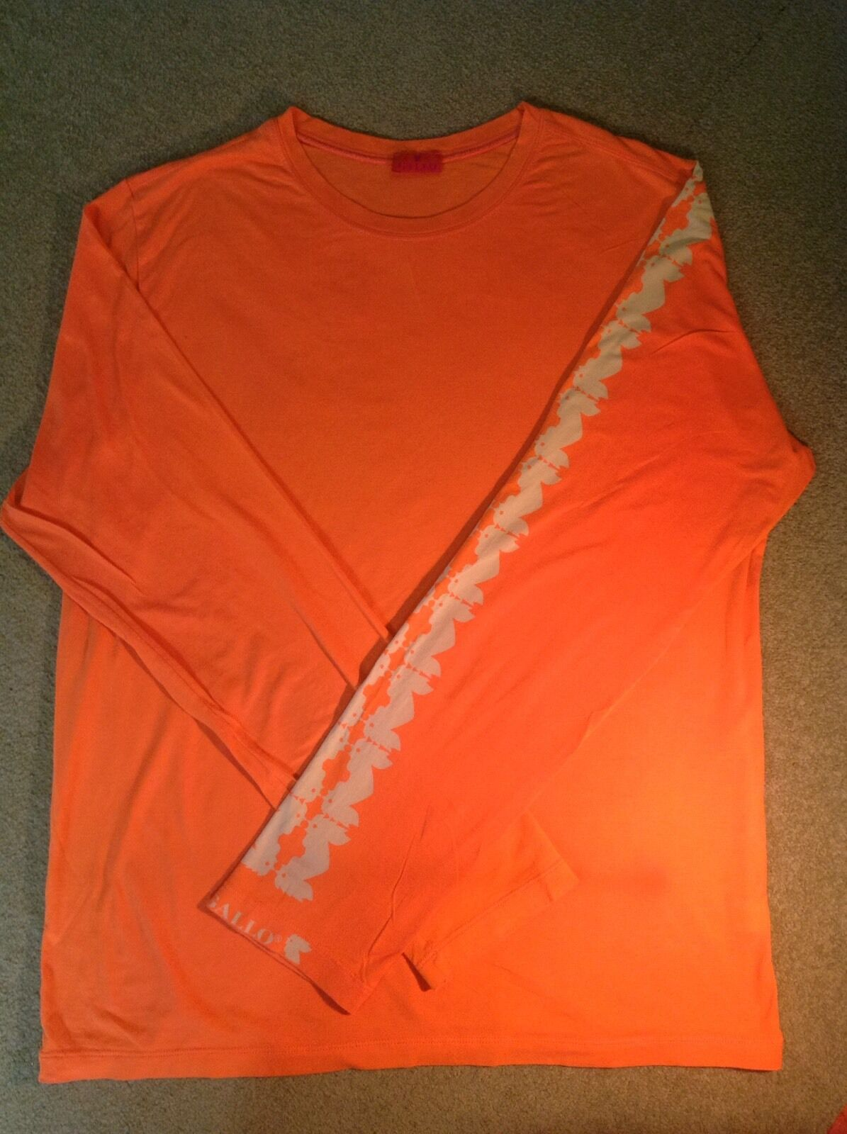 GALLO of ITALY  - LONG SLEEVE T hemd - Orange W ROOSTER LOGO ON SLEEVE -SZ M