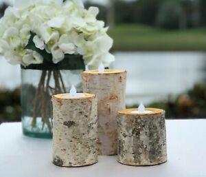 Birch Bark Log Candle Holders Set Of 3