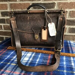 VINTAGE-RUSTIC-1970s-THICK-DISTRESSED-LEATHER-MACBOOK-PRO-BRIEFCASE-BAG-898