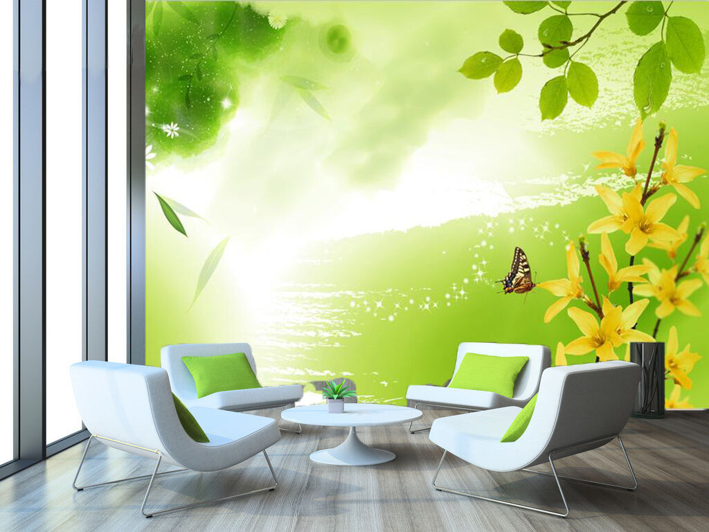 3D Sunshine Leaves Butterfly 2 Wall Paper Wall Print Decal Wall Deco Indoor Wall