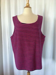 SIZE-XXL-New-GAP-Navy-Blue-amp-Fuchsia-Pink-Striped-Pullover-Stretch-Tank-Top