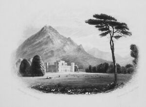 SCOTLAND-Inverary-Castle-amp-Dun-y-Quaich-1839-Antique-Print-Engraving