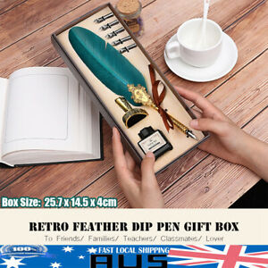 Vintage Style Blue Feather Quill Fountain Pen Writing Calligraphy Ink Gift Set