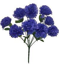 9 Carnations ~ ROYAL BLUE  Long Stems Silk Wedding Flowers Bouquets Centerpieces