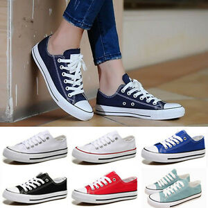 Casual-Womens-Sneakers-Classic-Lace-Up-Canvas-Flat-Fashion-Plimsoll-Shoes