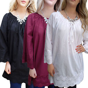 Ladies Uk Plus Size 20 28 Cotton Long Tunic Tops Broderie Anglaise