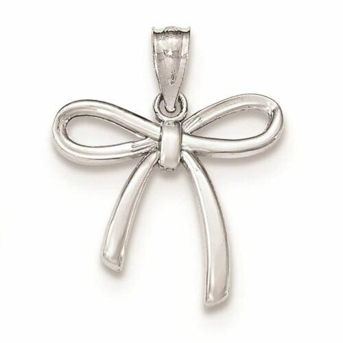 14K Small Ribbon Bow Charm Pendant