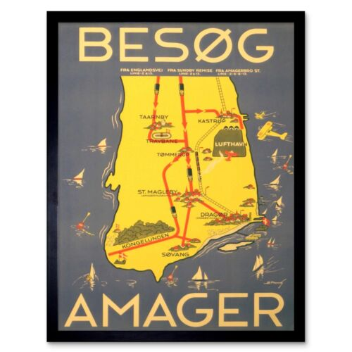 Travel Tourism Amager Denmark Coastal Copenhagen Boat Sea Airport Framed Print