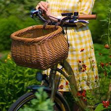 Wicker Bike/Bicycle Basket, Heritage pot-bellied, Vintage style, leather straps