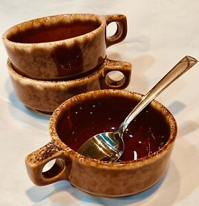 Vintage Hull Glazed Pottery 3 Oven Proof Brown Drip Soup Chili Bowls with handle
