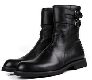 NEw-Mens-Mid-Calf-Buckle-British-Round-Toe-Leather-Riding-Combat-Boots-Shoes