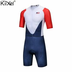 Brand-USA-Team-Cycling-Skinsuit-Man-039-s-Triathlon-Speedsuit-Jumpsuit-Maillot