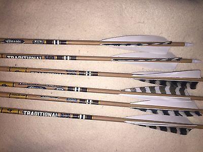 "inserts /& points 5/"" shield cut feathers Gold Tip Hunter 500 Arrows 1//2Dozen"