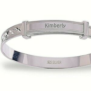 Personalised-925-Sterling-Silver-Baby-Bangle-Diamond-Cut-Christening-Bracelet