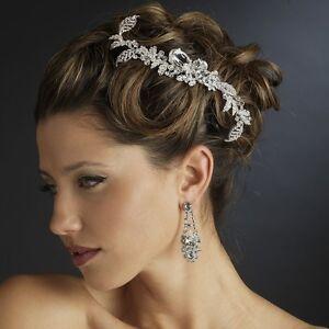Silver Clear Rhinestone & Crystal Leaf Bridal Hair Comb Wedding Accessory
