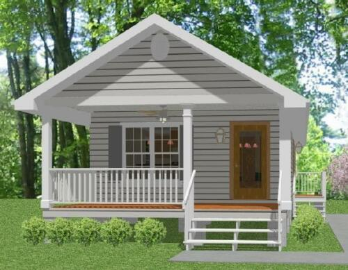 Custom Tiny House Home Cottage Building Plans 1 bed 648 sf-PDF FULL PERMIT SET