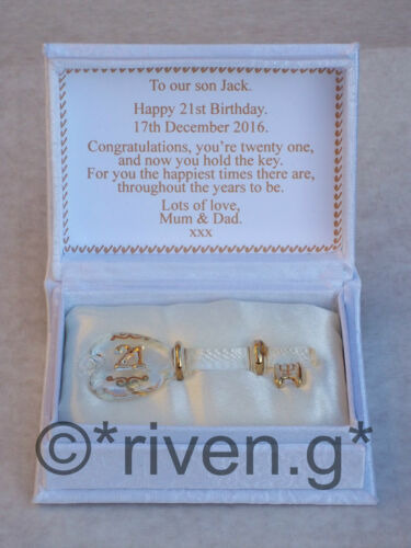 21st Birthday Key to the Door@Floral Box@PERSONALISED Verse@Glass@Gold@LOVE Gift