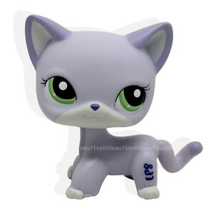 Littlest Pet Shop Rare Purple Short Hair Cat Kitty Green Eyes Lps