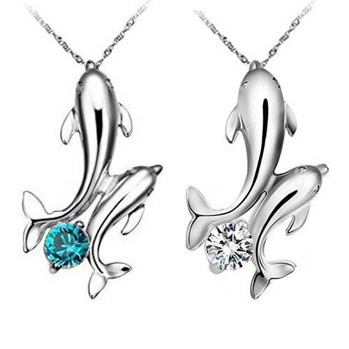 Halskette Delfin Delphin Pärchen Solitär weiß oder blau silberfarben #D3