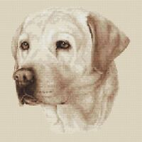 "Labrador Dog Cross Stitch Design (Sepia,10""x10"",25x25cm,kit or chart)"